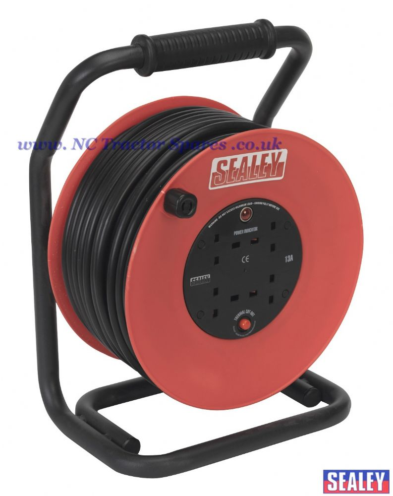 Cable Reel 50mtr 4 x 230V 2.5mm Heavy-Duty Thermal Trip